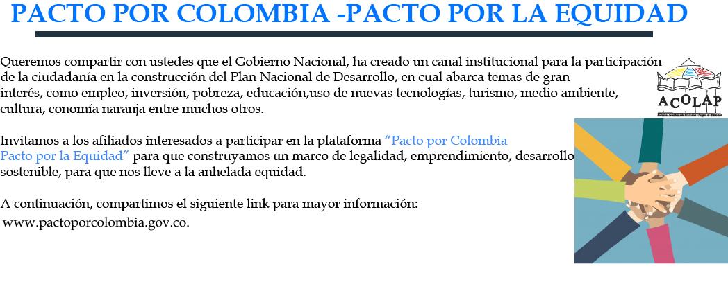 Pacto por Colombia- Pacto por la equidad